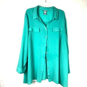 Catherines Women Button Down roll Tab Sleeve 96E